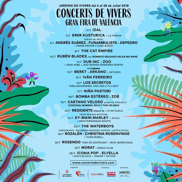 valencia conciertos en jardines de viveros 2018