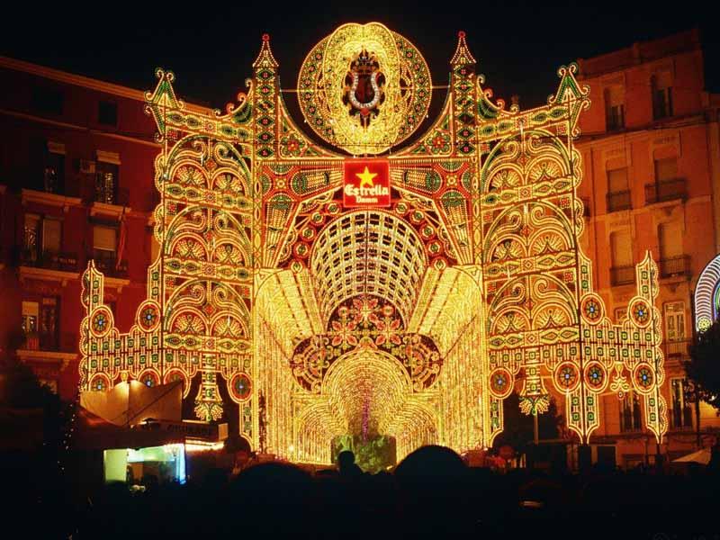 encendido de luces, Fallas de Valencia.